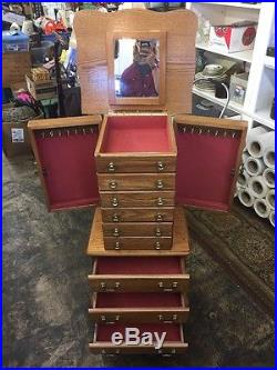 Large Floor Standing 8 Drawer Wooden Jewelry Armoire with Mirror