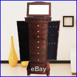 Large Floor Standing 8 Drawer Wooden Jewelry Cabinet Armoire with Mirror BSTY