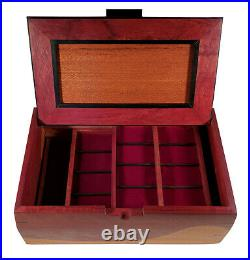 Large Gorgeous Artistic Studio Hand Made Exotic Woods Wooden Jewelry Storage Box