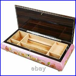 Large Handcrafted Wooden Pink Maple Burl Musical Jewellery Box with Inlay