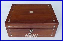 Large Indian, Rosewood MOP and Pewter Box with Key, Tray & Costume Jewellery
