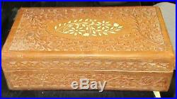 Large Inlaid Wooden Carved Jewelry Storage India Box