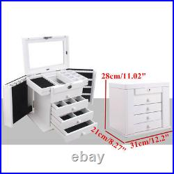 Large Jewellery Box Wooden Jewelry Organiser Storage Display Case 4/5 D2