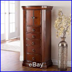 Large Jewelry Armoire Necklace Storage Organizer Chest Wood Bedroom Furniture