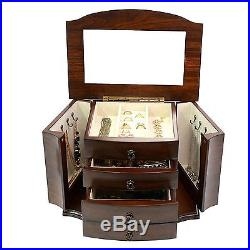 Large Mahogany Wood Finish Necklace Jewelry Box with Lock Mirror Fashioned From