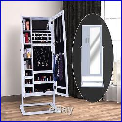 Large Mirrored Jewelry Cabinet Armoire Stand Earring Ring Storage Organizer Box