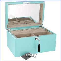 Large Size Tiffany Blue High Lacquer Jewellery Box Luxury Lining by Aevitas