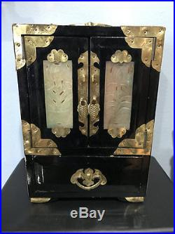 Large Vanity Chinese lacquered wood Chest carved jade brass jewelry chest Box