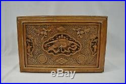 Large Vintage Antique Chinese Fine Hand Carved Wooden Jewellery Box Casket 13