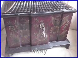 Large Vintage Chinese Style Wooden Jewellery Box With Key, Used