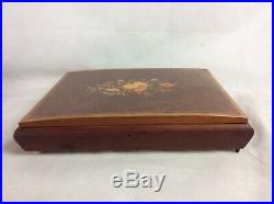 Large Vintage Reuge Inlaid Wooden Musical Workbox, Sewing Box, Jewellery Box