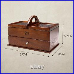 Large Vintage Wooden Sewing Storgae Basket Organizer Box Jewelry Containers Case
