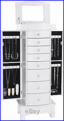 Large White Shabby Chic Jewellery Armoire Wooden Storage Organiser With Mirror