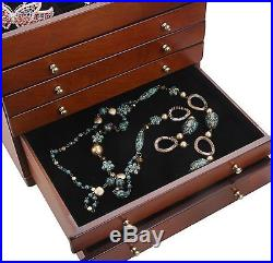 Large Wooden Box Jewellery Box Necklace Case Cabinet Armoire Necklace Ring Gift