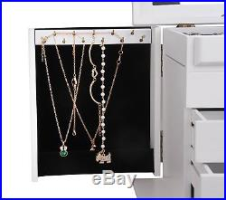 Large Wooden Jewellery Gift Box Crate Mirrored Armoire Cabinet for Girls White