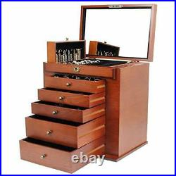 Large Wooden Jewelry Box/Cabinet/Armoire with Lock for Women Girls X-Large