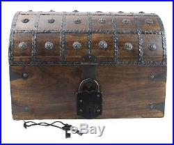 Large Wooden Pirate Treasure Chest 16x11x11 XL L Box With Antique Style Lock