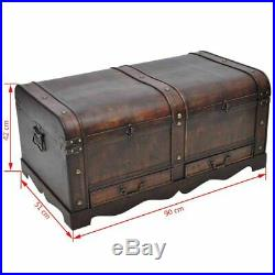 Large Wooden Pirate Treasure Chest Vintage Antique-style Coffee Table Home Decor
