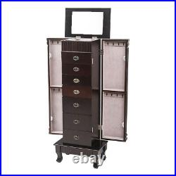 Large Wooden floor style Jewelry Armoire Storage Chest with 7 Drawers New Brown
