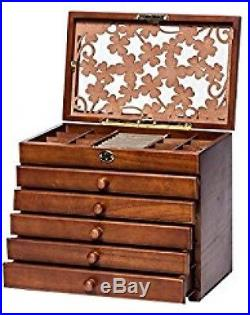 Legoyo 7198B Clover Carved 6 Layer Wooden/Real Wood Jewelry Box And Lock