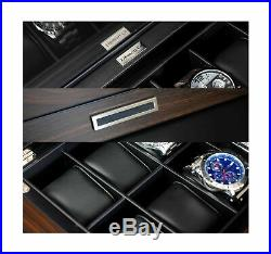 Lifomenz Co Wooden Watch Box for Men Watch Jewelry Box Organizer with Valet D