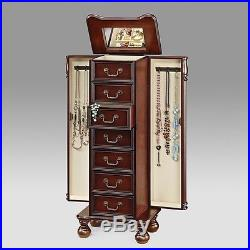 Lopez Jewelry Armoire Storage Cabinet Drawers with Flip Top Mirror Cherry Finish