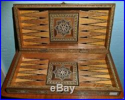 Lot of 6 Middle Eastern wooden inlay trinket / jewelry / game boxes