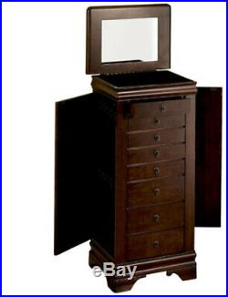 Louis Philippe Jewellery Armoire Marquis Cherry Wooden Necklace Storage Chest