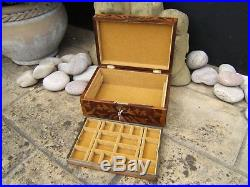 Lovely 19c Figured Maple And Rosewood Antique Jewellery Box Fab Interior