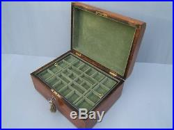 Lovely 19c Inlaid Figured Walnut Antique Inlaid Jewellery Box Fab Interior