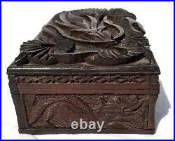Lovely Carved Wooden Trinket Jewellery Box Asian Oriental Floating Dragon On Lid