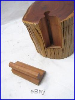 Lovely Vintage Cedar Carved Wooden Puzzle Jewelry Box Wood Trinket