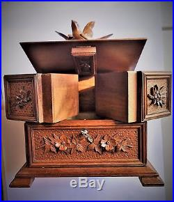 Lovely wooden jewelry box carved Black Forest, Napoleon III Birds