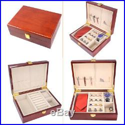 Luxury Cufflinks Case Wooden Trinkets Jewelry Box Christmas Gift for Men Red
