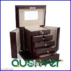 Luxury&quality 5 Layers Wooden Necklace Rings Storage Organiser Jewelry Box Wine