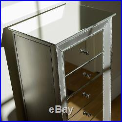 Mirrored Jewelry Armoire Chest Box Tall Storage Cabinet Stand Silver Organizer