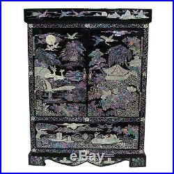MOP Oriental Black Standing Wood Jewelry Earring Ring Necklace Box Case Armoire