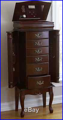 Mahogany Jewelry Armoire Display Storage Chest, Ring Necklace Organizer Box Wood