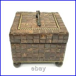Maitland Smith Brown Tiled, Handshake Handle, Footed Wooden Box 6.5x6.5x6.5