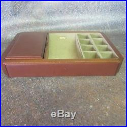 Mark Cross Wooden and Suede with Leather Accents Jewelry Box (M4)