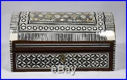 Marquetry Mosaic Jewelry Chest with Bone & Mother of Pearl from Egypt 10 3/8 W