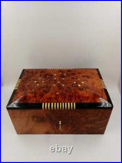 Marquetry Wooden Jewelry Box, Wood Box With Two Storage Level, Decorative Lock Box