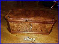 Massive Nordstrom Italian Burl Wood Jewelry Box Chest with key Made in Italy MINT