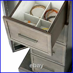 Mele & Co. Athena Wooden Jewelry Armoire in Oceanside Grey Finish