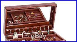 Mele & Co. Brigitte Wooden Jewelry Box in Antique Walnut Finish, New Large Chest