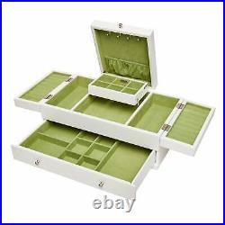 Mele & Co. Everly Wooden Triple Lid Jewelry Box in White N/A
