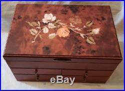 Mele & Co. Jewelry Box Wooden With Floral Marquetry Motif (Walnut Finish)