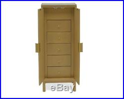 Mid Century Modern Natural Wooden Freestanding Jewelry Armoire Cabinet Retro Box