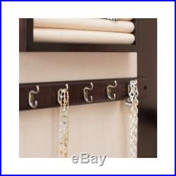Mirror Jewelry Armoire Box Hidden Storage Organizer Light Lock Wall Mounted Wood
