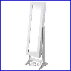 Mirror Jewelry Cabinet Armoire With Stand Mirror Rings, Necklaces, Bracelets white